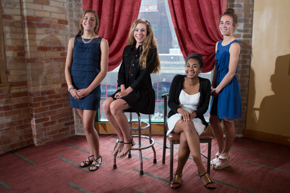 From left, Yvonne Danko, Erin Brom, Amani Allen and Kaela Theut, youth grant committee members.