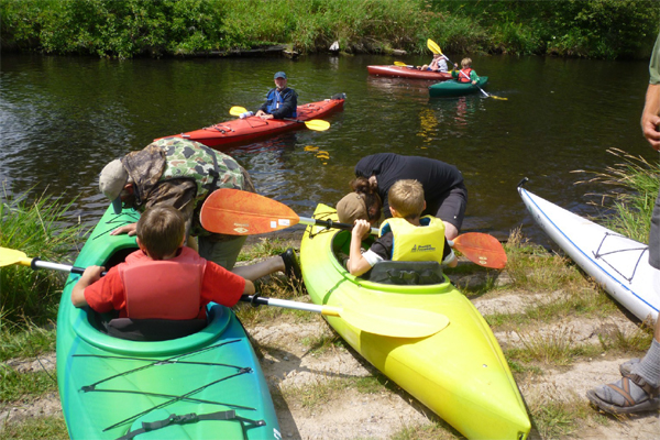 Kayaking instruction with adult paddlers