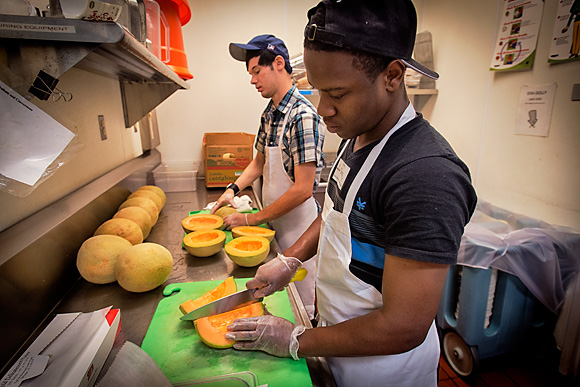 Bryan Laher and Shaquille Brown at the Community Kitchen