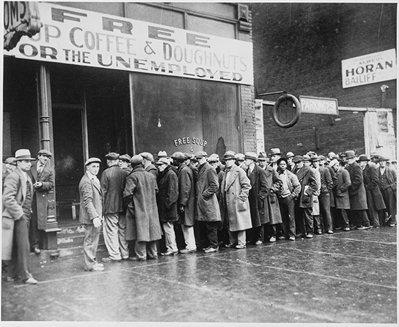 Depression era unemployment line